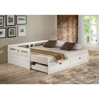 shop melody twin to king trundle daybed with storage drawers white free shipping today. Black Bedroom Furniture Sets. Home Design Ideas
