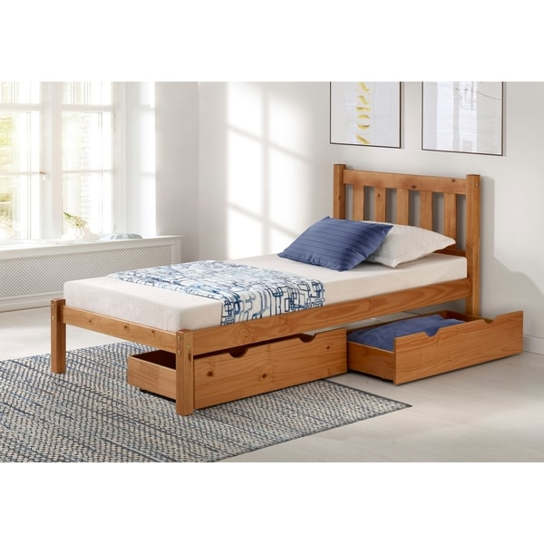 Shop Poppy Solid Wood Twin Bed With Storage Drawers Cinnamon Free