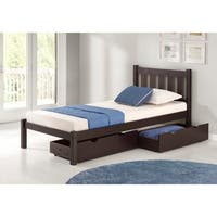Poppy Solid Wood Twin Bed with Storage Drawers, Espresso