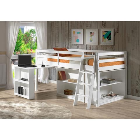 Roxy Junior Loft Solid Wood Bed with Pull Out Desk, Shelving and Bookcase