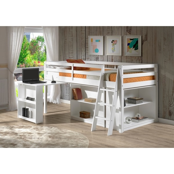 Roxy Junior Loft Solid Wood Bed with Pull Out Desk, Shelving and Bookcase. Opens flyout.