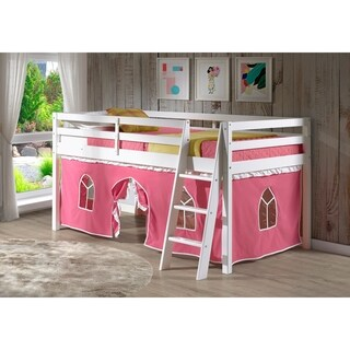 Roxy Twin Junior Loft Solid Wood Bed with Pink and White Tent, White