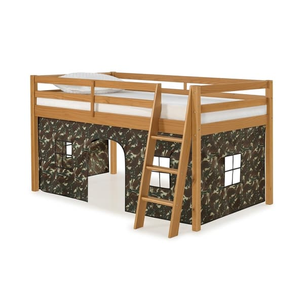 Twin Jr Loft Bed.Shop Roxy Twin Junior Loft Solid Wood Bed With Tent On
