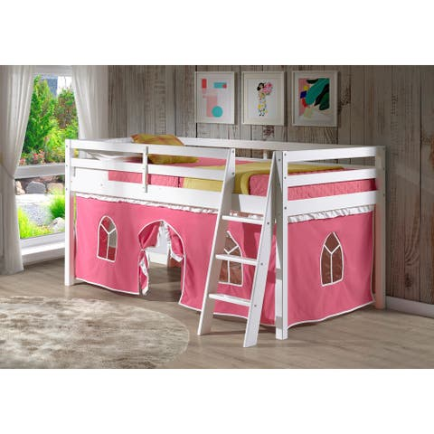 Roxy Twin Junior Loft Solid Wood Bed with Playhouse Tent
