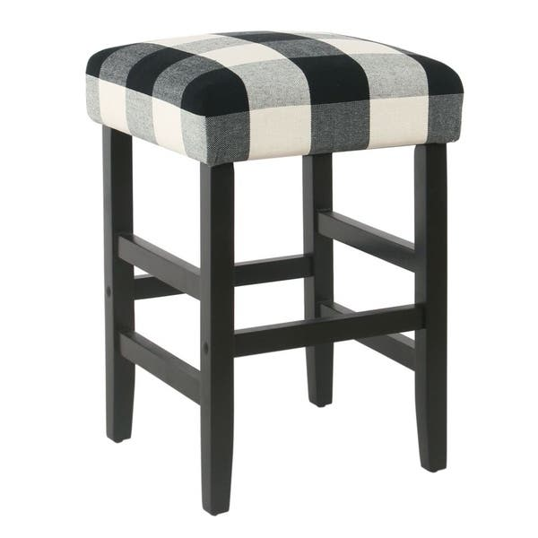 Pleasing Shop Homepop Square 24 Counter Stool Black Plaid Free Forskolin Free Trial Chair Design Images Forskolin Free Trialorg