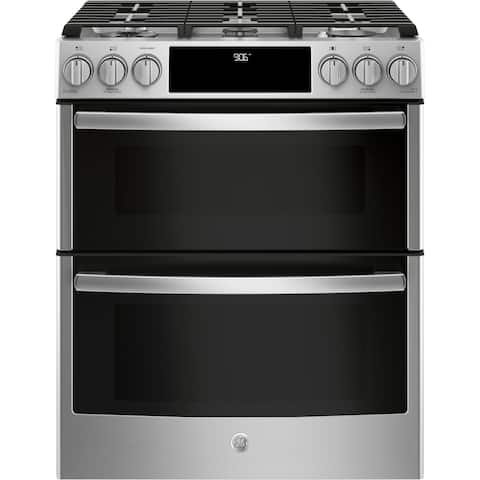 """GE Profile Series 30"""" Slide-In Front Control Gas Double Oven Convection Range - Stainless Steel"""