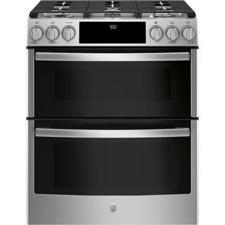 """GE Profile Series 30"""" Slide-In Front Control Gas Double Oven Convection Range