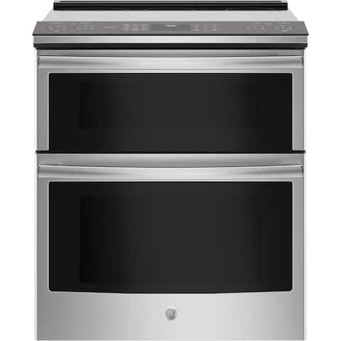 """GE Profile Series 30"""" Slide-In Electric Double Oven Convection Range - Stainless Steel"""