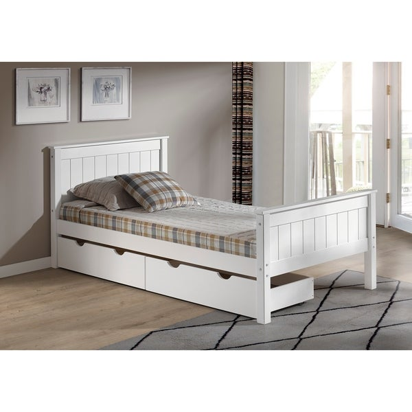 Shop Harmony Twin Bed With Storage Drawers White Free Shipping