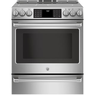 """GE Cafe Series 30"""" Slide-In Front Control Induction and Convection Range with Warming Drawer"""