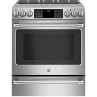 """GE Cafe Series 30"""" Slide-In Front Control Induction and Convection Range with Warming Drawer