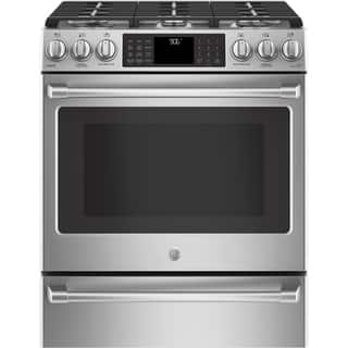 """GE Café Series 30"""" Slide-In Front Control Range with Warming Drawer