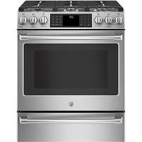 """GE Café Series 30"""" Slide-In Front Control Range with Warming Drawer - Stainless Steel"""