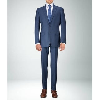 Carlo Studio Navy Blue Patterned Suit