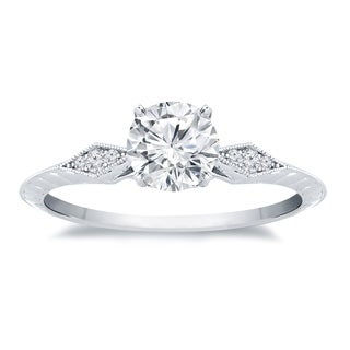 Auriya 14k Gold 1/2ct TDW Vintage Filigree Diamond Solitaire Engagement Ring - White H-I