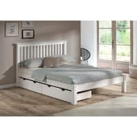 Girona Solid Wood Queen Bed with Storage Drawers, White