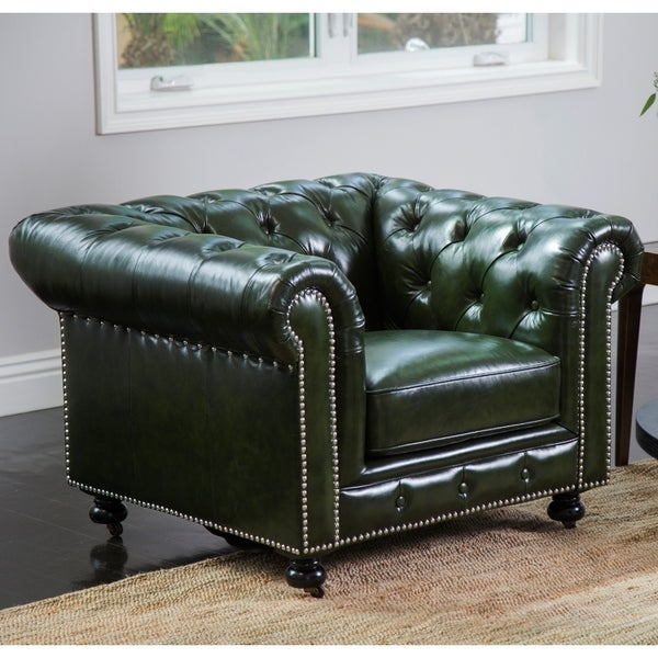 Shop Abbyson Virginia Green Waxed Leather Chesterfield ...
