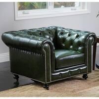 Abbyson Virginia Green Waxed Leather Chesterfield Armchair