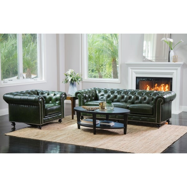 shop abbyson virginia green waxed leather chesterfield 2 piece living room set on sale free. Black Bedroom Furniture Sets. Home Design Ideas