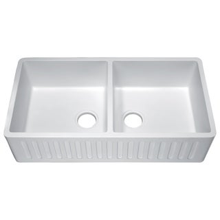 Roine Farmhouse Apron Front Man Made Stone 35 in. 0-Faucet 50/50 Double Bowl Kitchen Sink in Glossy White