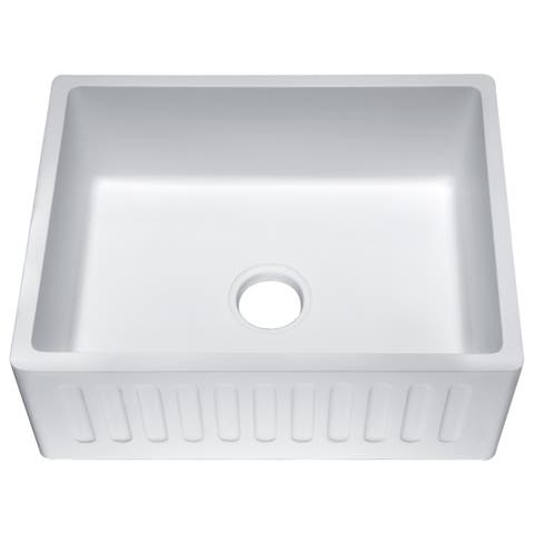Roine 24 In. Farmhouse Apron Front Man Made Stone Single Bowl Kitchen Sink in Matte White