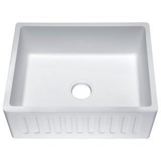 Roine Farmhouse Apron Front Man Made Stone 24 in. 0-Hole Single Bowl Kitchen Sink in Matte White