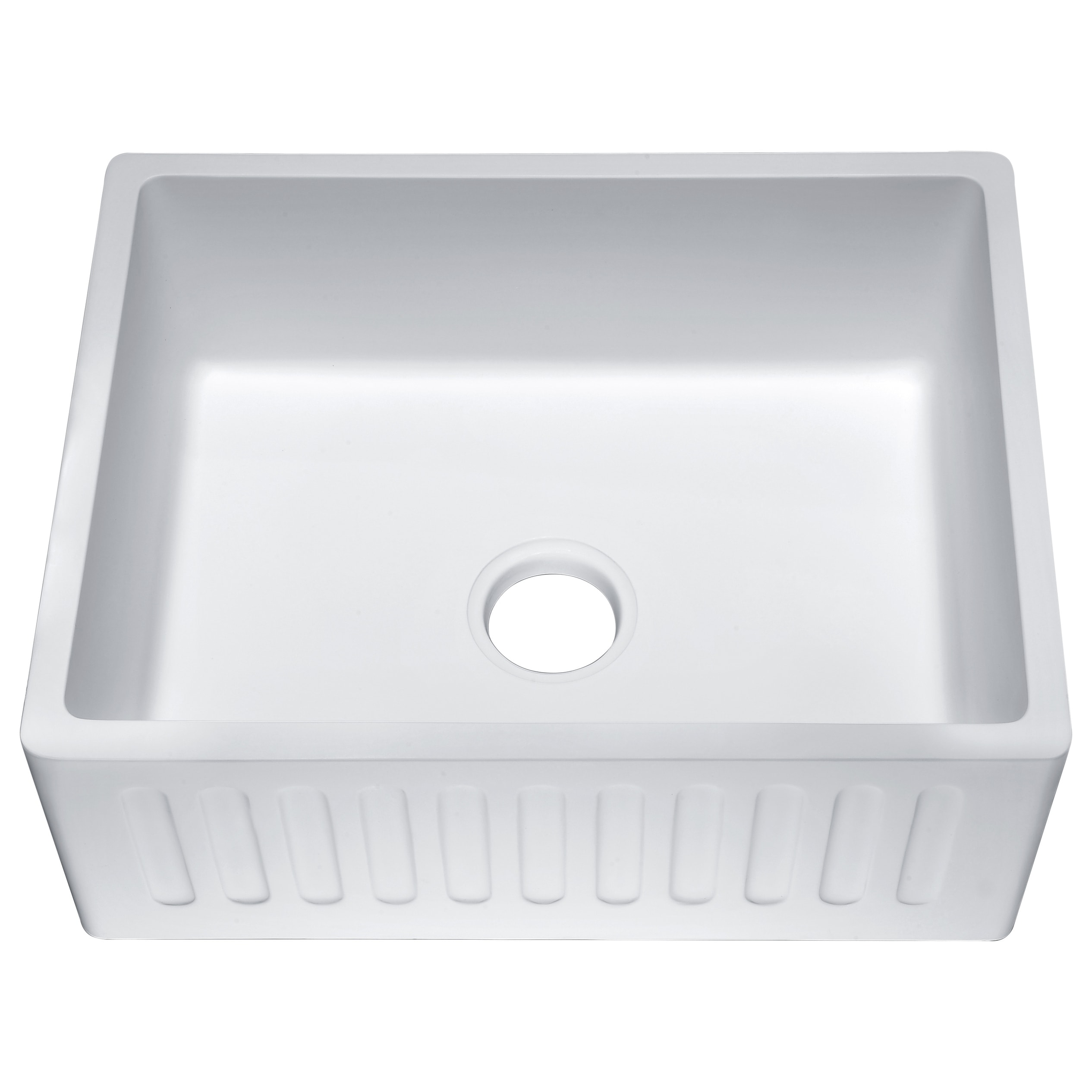 Roine 24 In. Farmhouse Apron Front Man Made Stone Single Bowl Kitchen Sink  in Matte White