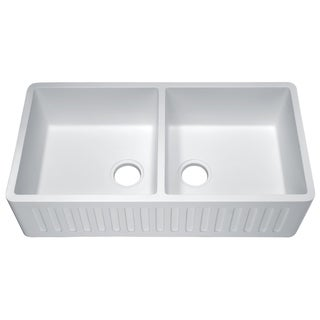 Roine Farmhouse Apron Front Man Made Stone 35 in. 0-Faucet 50/50 Double Bowl Kitchen Sink in Matte White