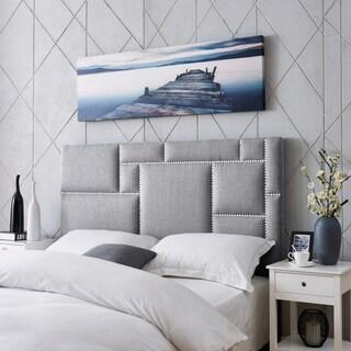 Handy Living Montreal Full/Queen Grey Linen Upholstered Headboard