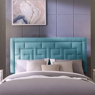 Handy Living DaVinci Full/Queen Blue Linen Upholstered Headboard