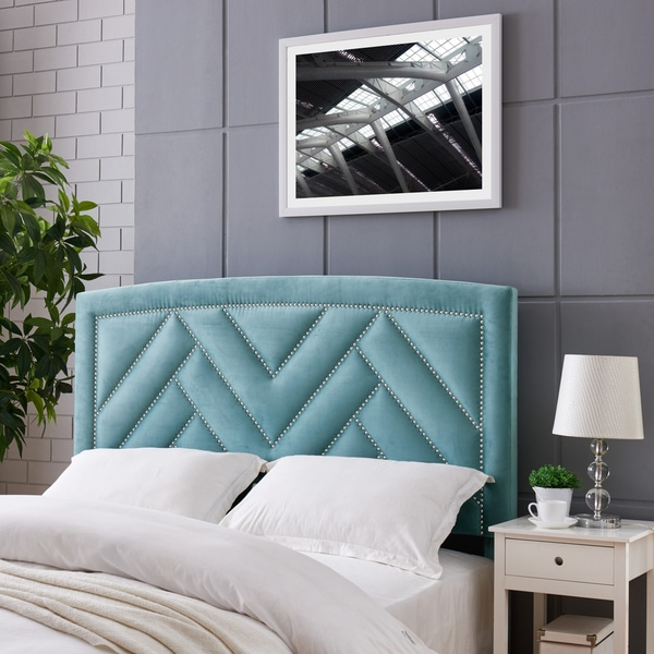 Handy Living Abingdon Full Queen Turquoise Blue Velvet Upholstered Headboard
