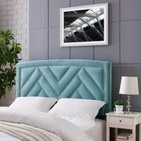 Handy Living Abingdon Full/Queen Turquoise Blue Velvet Upholstered Headboard