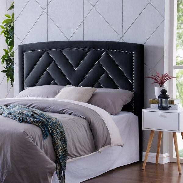 Handy Living Abingdon Navy Blue Velvet Full Queen Upholstered Headboard