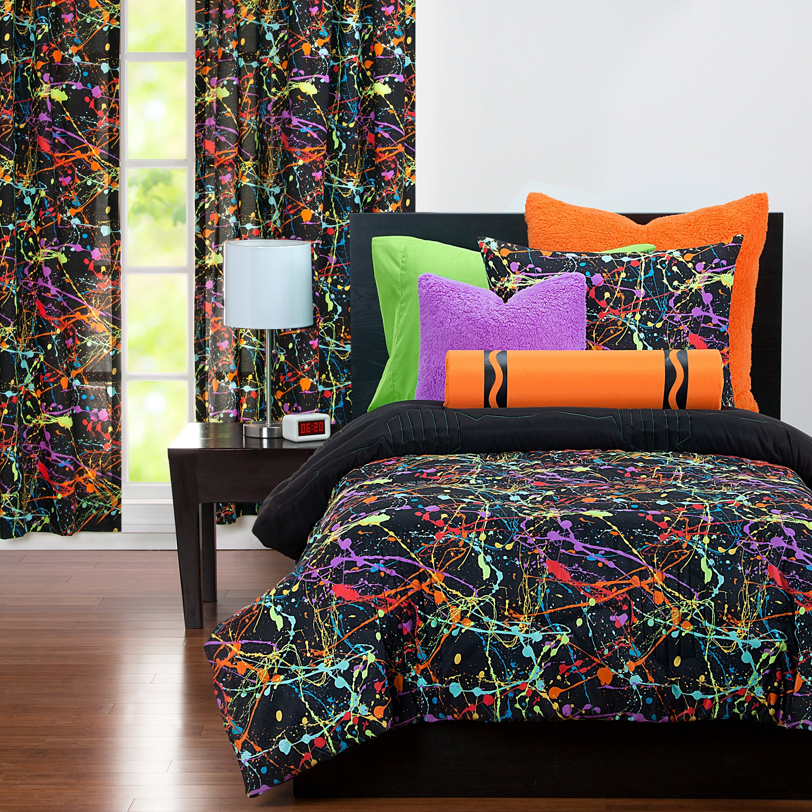 Crayola Neon Splat Paint Drip 3 Piece Comforter Set On Sale Overstock 18106376