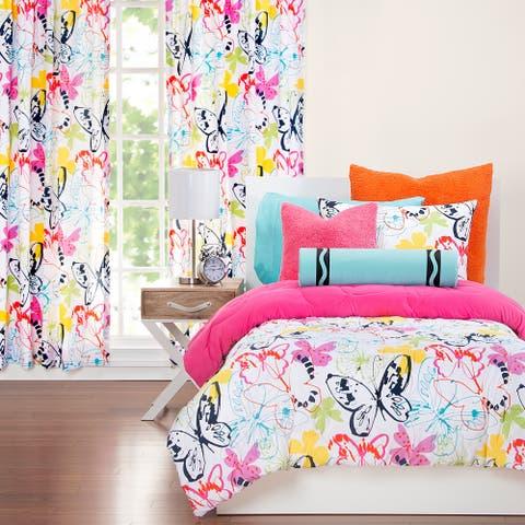 Crayola Flutterby Artsy Butterfly 3-piece Comforter Set