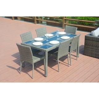 Aldrich Grey Wicker Indoor/Outdoor 7-piece Rectangle Dining Set