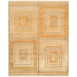 Pasargad Modern Collection Beige Wool Handmade Area Rug (5'1 x 6'5)