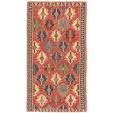 """Antique Kilim Collection Rust/Ivory Hand-Woven Wool Area Rug (6' 3"""" X 11' 3"""")"""