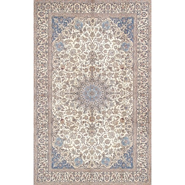 Persian Hand Knotted Nain Wool And Silk Area Rug Ebth: Shop Nain Collection Hand-Knotted Ivory Silk & Wool Area
