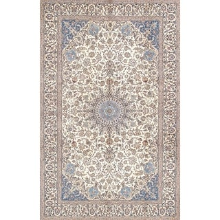 """Nain Collection Hand-Knotted Ivory Silk & Wool Area Rug (7' 3"""" X 11'11"""")"""