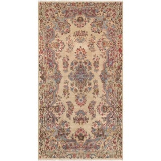 Vintage Kerman Collection Handmade Ivory Lamb's Wool Area Rug (3' 9 x 7' 3)
