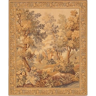 Pasargad Tapestry Collection Ivory Wool Handmade Area Rug - 4'9 x 5'8