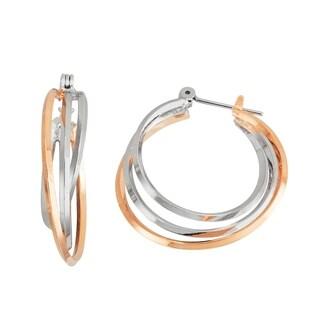 Isla Simone 14K Gold and Rhodium Plated Triangle 3 Tube Interlaced Hoop Earrings 27mm