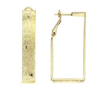 Isla Simone 14K Gold Plated Etch Pattern Square Cut Hoop Earrings