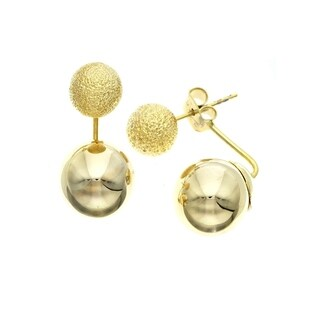 "Isla Simone ""Day and Night"" 14K Gold Plated Large Bead Earrings"