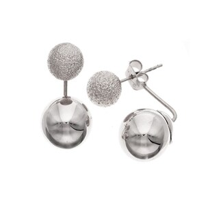"Isla Simone ""Day and Night"" Rhodium Plated Large Bead Earrings"