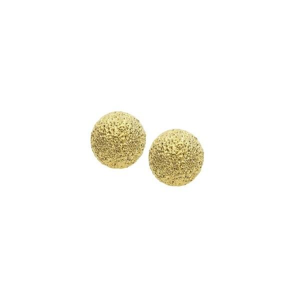 Isla Simone 14k Gold Plated Textured Ball Earrings 10mm