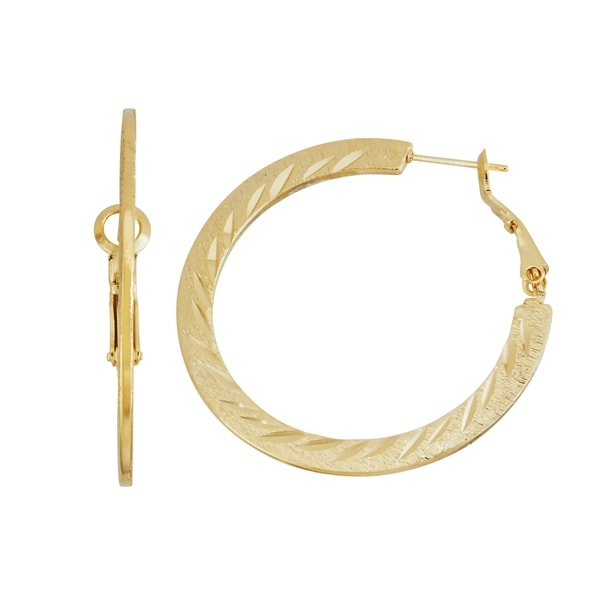 Isla Simone 14k Gold Plated Dash Pattern Diamond Cut Flat Hoop Earrings 40mm Free Shipping On Orders Over 45 18106607