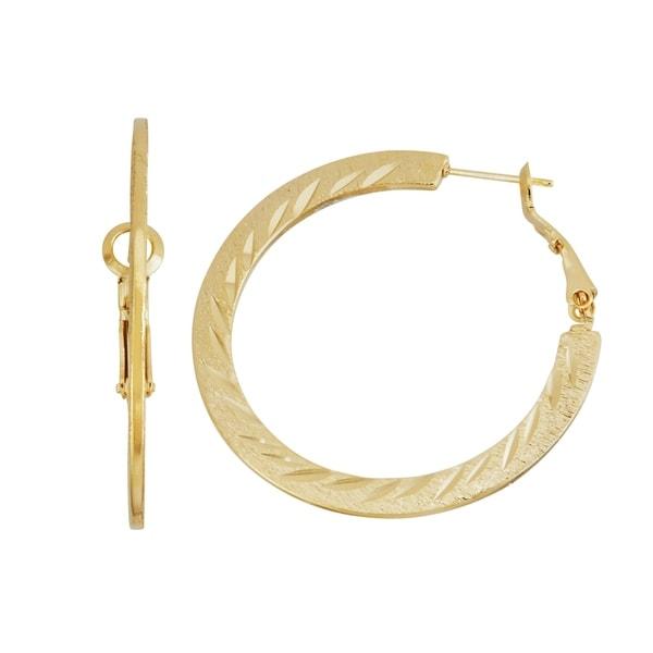 Isla Simone 14k Gold Plated Dash Pattern Diamond Cut Flat Hoop Earrings 40mm Free Shipping On Orders Over 45 18106607