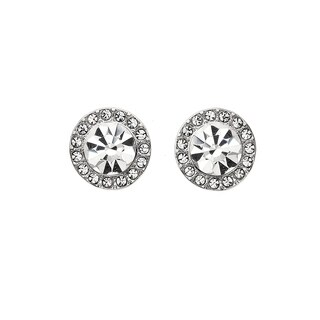Isla Simone White Rhodium Plated 7mm Halo Crystal Stud Earrings